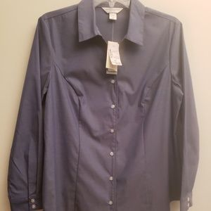 NWT Christopher & Banks Blue Button down Shirt PM
